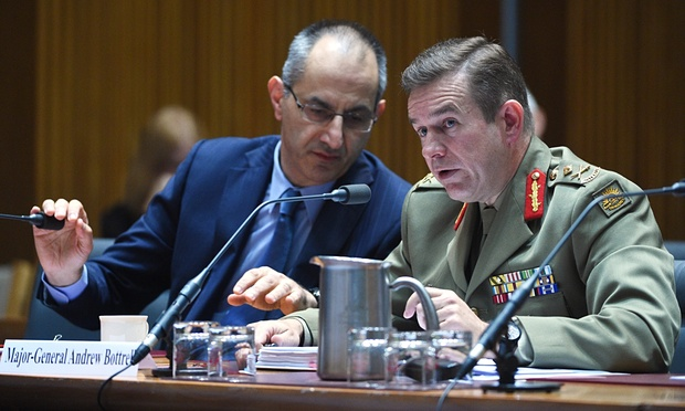 Michael Pezzullo (left) and Maj Gen Andrew Bottrell at the Senate inquiry in Canberra; picture The Guardian.